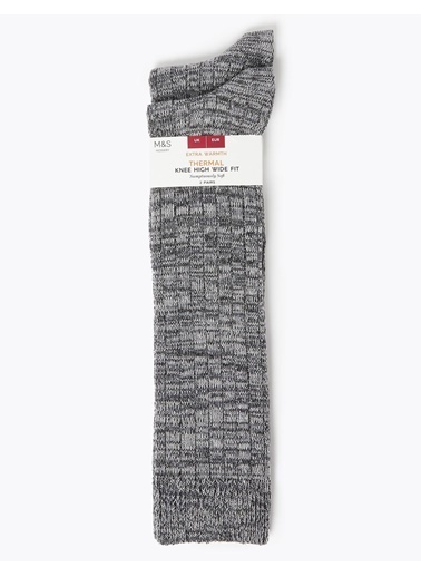 Marks & Spencer 2'li Termal Diz Altı Çorap Seti Gri